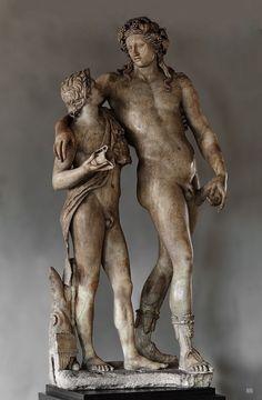 antonio-m: Dionysus and Satyr. Roman Copy.120-140.CE. marble. Uffizi Gallery. Florence