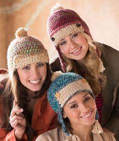 Chic Aviator Hats Free Crochet Pattern from Red Heart Yarns ༺✿ƬⱤღ http://www.pinterest.com/teretegui/✿༻