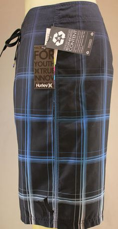 Hurley blue & black board shorts, recycled material, surf & swim trunks