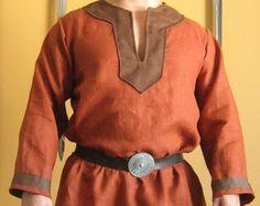 Mittelalterliche keltische Viking Norman Shirt mit Kragen Deluxe
