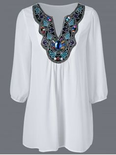 GET $50 NOW | Join RoseGal: Get YOUR $50 NOW!http://www.rosegal.com/plus-size-blouses/plus-size-embroidered-rhinestone-chiffon-721440.html?seid=8272426rg721440