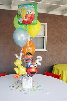 Sesame Street party balloon centerpiece carolynhortenevents.com