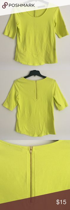 THE LIMITED Fluorescent Yellow Top Size M  Bright Flourescent Yellow Top.  96% cotton, 4% spandex.  Available to bundle as a set with matching Capris (paint slash pattern) see last photo. The Limited Tops Tunics