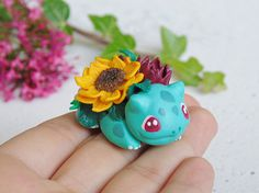 Handmade Tiny Blooming Bulbasaur Figurine Miniature Polymer