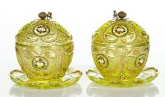 Pair of 19th C. Bohemian candy dishes