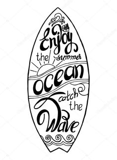 Surfboard calligraphy 'enjoy the summer', 'ocean' — stock vector Surfboard Drawing, Vibes Tumblr, Hawaiian Party Decorations, Bullet Journal Notebook, Hand Drawn Lettering, Vector Portrait, Vector Hand, Surf Art, Illustrations
