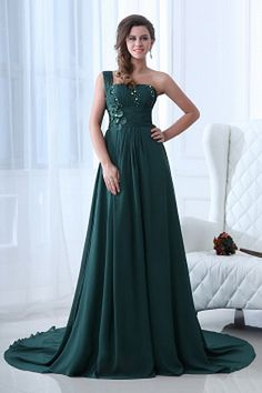 One-shoulder Elegant Green Celebrity Gown - Order Link: http://www.theweddingdresses.com/one-shoulder-elegant-green-celebrity-gown-twdn2317.html - Embellishments: Beading , Flower , Draped , Sash; Length: Chapel Train; Fabric: Chiffon; Waist: Empire - Price: 151.15USD