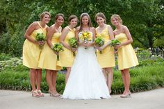 BRIDESMAIDS: My bridesmaids wore bright yellow dresses with nude heels and carried lime green flowers while I carried a bouquet to match their dresses.