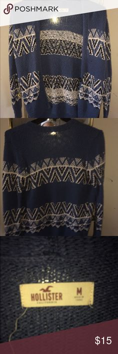 Blue Aztec Hollister Sweater Barely Ever Worn, Loose Fit, No Holes or Sign of Use Hollister Sweaters Cardigans