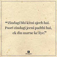 Maut to yun hi badnaam hai janaab, asli takleef to ye zindagi deti hai. Shyari Quotes, Poetry Quotes, True Quotes, Urdu Poetry, Deep Words, True Words, Hindi Words, Hindi Qoutes, Gulzar Quotes