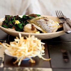Oven-Roasted Fish with Lime-Butter, Spinach, Shiitake Mushrooms and Shoestring Potatoes from Kitchen Daily, found @Edamam!