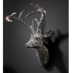 Large Sparkly Diamante Resin Stag Deer Head Wall Trophy with Antlers