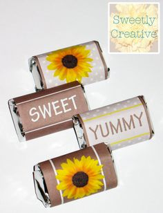 Mini Candy Bar Wrappers Sunflower Party   by SweetlyCreative #sunflower