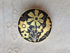 Damascene Brooch Pin, spanish damascene jewelry, spanish jewelry, spanish gold jewelry, toledo spain jewelry, vintage damascene jewelry by DuckCedar on Etsy