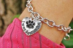 Charm Bracelet - Sterling Silver Pl Chain - I Love My Rescue Dog Pendant - Rescue Puppy Paw Print Heart Paws Adoption Lover Gift