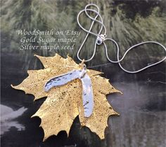 Real Sugar maple leaf with gold maple seed - Real  Leaves by WoodSmith on Etsy