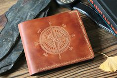 Mens wallet Christmas gift for husband Leather wallet inspirational quote Personalized wallet mens leather wallet compass slim wallet hannibal birthday gift ------------------------------------------------------------------------------------------------- Accurate, thin look and finished edges are the highlight of our work. This wallet is very special for us, we experimented much to achieve slight vintage effect. Besides because way of finishing, the surface is water resistant and doesnt…