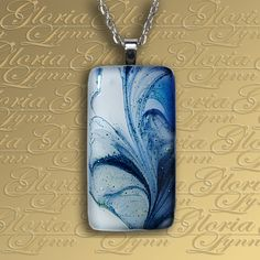 """Fused Glass Center Piece Necklace. This pendant really gets to me! I want it! And, I couldn't decide whether to put it here in """"jewelry"""" or in """"my blue heaven."""""""
