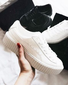 bef52cb3ad1 ... women s Puma x Fenty by rihanna suede creeeper sneakers. At  TheShoeCosmetics all white trainers are the canvas