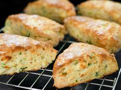 Cheddar, Herb, and Bacon Scones (recipe via @DailyCandy) - a savory pastry.