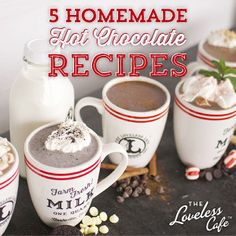 5 Simple Homemade Hot Chocolate Recipes to warm up the Holidays!maher dating choc peanut butter and white choc peppermint. Yum!