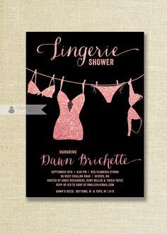 Pink & Black Lingerie Shower Invitation Pink Glitter Blush Pink Black Modern Bridal Shower FREE PRIORITY SHIPPING or DiY Printable - Dawn
