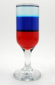 4th of July Tooter    (1/2 oz. Grenadine  1/2 oz. Blue Curacao  1/2 oz. Vodka)