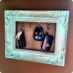 Old picture frame key holder