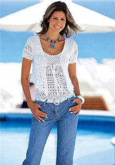 Pattern only - a crochet summer  blouse/vest with a cardigan