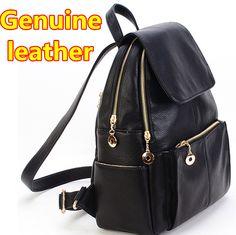 fashion brand women backpack genuine leather backpacks women vintage rucksack girls school bag black color book bag schoolbag € 33,53