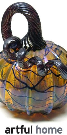 Iridescent Gold with Vines Pumpkin by Ken Hanson and Ingrid Hanson. Golden blown glass pumpkin with dark iridescent vines and and dark copper stem. The gold layer has a purplish hue and the vines are a bluish black. Glass Pumpkins, Fall Pumpkins, Halloween Artwork, Halloween Images, Spooky Halloween, Halloween Pumpkins, Halloween Decorations, Pumpkin Art, Pumpkin Ornament