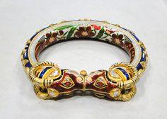 VINTAGE ANTIQUE 22 K GOLD DIAMOND KUNDAN ENAMEL WORK BRACELET BANGLE JAIPUR INDIA