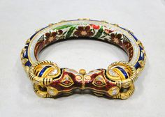 VINTAGE ANTIQUE 22 K GOLD DIAMOND KUNDAN ENAMEL WORK BRACELET BANGLE JAIPUR INDIA