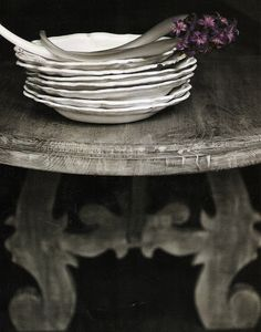 "That table is splendid and so simple are the white plates and purple flowers (purple…for a spot of color that ""just works"") yet so much beauty do they withhold!!! Inspires me!!! -K.S."