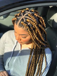 Jumbo sized Box Braids - Blonde Box Braids - Protective Style - September 21 2019 at Box Braids Hairstyles For Black Women, African Braids Hairstyles, Braids For Black Hair, Weave Hairstyles, Protective Hairstyles, Protective Styles, Blonde Hairstyles, African Hair Braiding, African Box Braids
