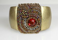 Antique Gold Beaded Cuff  Antique Look Embroidered Bracelet