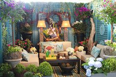 Colorful & Cozy Outdoor Room colorful home outdoors backyard patio deck outdoor furniture outdoor room