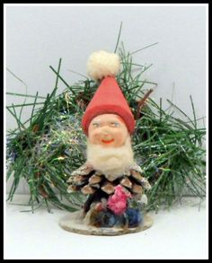 Vintage Christmas Ornament Pine Cone Pixie Elf by CollectMemories