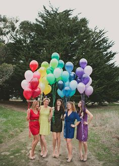 Up, up, and away! Your pictures will reach new heights when you include bright balloons in coordinating colors. Now that's a photo worthy moment! Bridal Party, Bridesmaid Photos, Wedding Photo Ideas