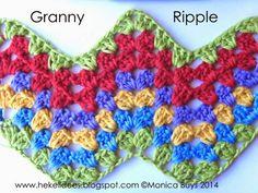 Hekel Idees: Hekel Tutoriaal: Granny Ripple Patroon Crochet Angel Pattern, Crochet Bebe, Crochet Stitches Patterns, Crochet Granny, Free Crochet, Stitch Patterns, Knit Crochet, Crochet Afghans, Free Pattern