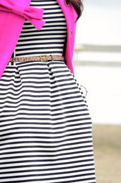 black and white stripes + glittery belt @ natural waist + hot pink blazer with bow