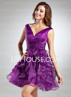 Homecoming Dresses - $125.99 - A-Line/Princess V-neck Short/Mini Organza Homecoming Dress With Ruffle (022015532) http://jjshouse.com/A-Line-Princess-V-Neck-Short-Mini-Organza-Homecoming-Dress-With-Ruffle-022015532-g15532