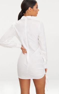Yi Sha Lei Man Women's Button Down Dress Long Sleeve Work Office Business Blouse Shirt Dress with Belt Cute Dresses, Short Dresses, Grecian Dress, Girl Outfits, Cute Outfits, Magic Women, Mini Shirt Dress, Western Outfits, White Fashion