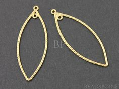 24K Gold Vermeil Over Sterling Silver Marquis Shaped by Beadspoint, $12.99