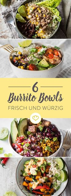 6 colorful burrito bowls - get Mexico in your 6 bunte Burrito Bowls – hol dir Mexiko in deine Schüssel Let yourself be inspired by these 6 Burrito Bowl recipes and fill your bowl with spicy and fresh Mexican taste! Crock Pot Recipes, Cooker Recipes, Chicken Recipes, Bbq Chicken, Grilled Chicken, Mexican Food Recipes, Vegetarian Recipes, Dinner Recipes, Healthy Recipes