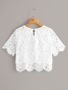 White Lace Scallop Hem Sheer Crop Blouse Source by cutespree lace top outfit Blouse Transparente, Crop Blouse, Blouse Batik, Lace Crop Tops, Scalloped Hem, Sheer Fabrics, Lace Sleeves, Pop Fashion, Fashion Black