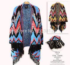 Free Shipping 2014 Fashion Sweater Shawl Colorful Knitwear Coat Woman Cardigan Winter knitted Tassel Fringe  Cardigan
