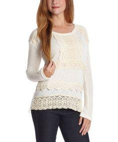 Ivory Crochet Sweater #zulily #zulilyfinds