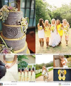 Top right picture!!!! Super cute idea with different bridesmaids dresses!
