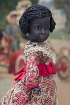"""14"""" (35 cm) Very Rare German Bisque Character Black Doll, 1368, by from respectfulbear on Ruby Lane"""